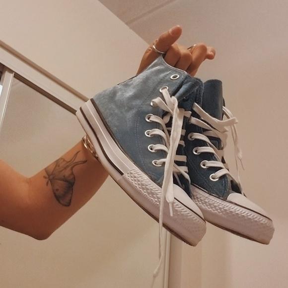 0e46bd417659 Converse Shoes - Crushed Velvet Baby Blue High Top Chucks Converse